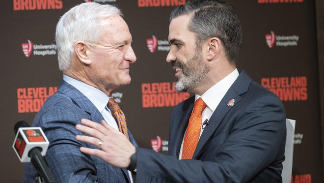 Browns owner Jimmy Haslam greets new coach Kevin Stefanski before a news conference in January.