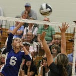 Williamsburg's Peyton Fisher prepares to serve in the win against CNE Sept. 1.