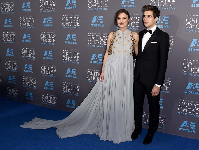 Keira Knightley, left, and James Righton arrive at
