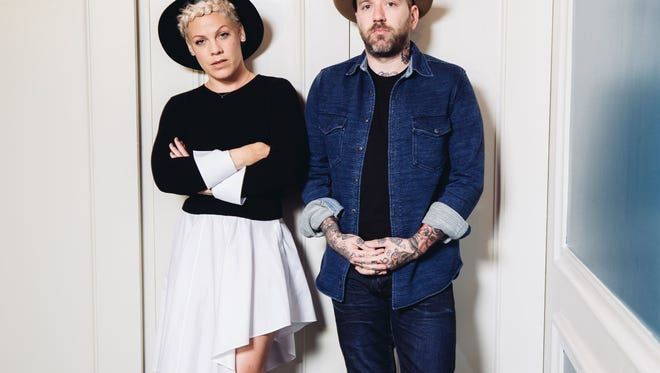 Folk music duo You+Me, consisting of Alecia Moore, left, known as Pink, and Dallas Green.