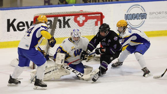 John Jay's Chase Chodkowski takes a shot on West Seneca
