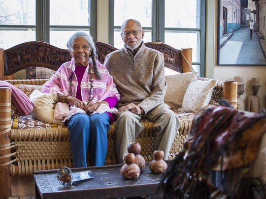 Lydia Clemmons and Dr. Jackson Clemmons pose in the living room of their daughter Lydia's home at the family farm in Charlotte on Thursday, November 10, 2016. The property is being added to the Vermont African-American Heritage Trail. The younger Clemmons' home is full of African artifacts and furniture, may from Uganda.