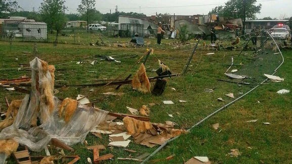Damage from severe weather in Johnson County, Texas, on May 8, 2014.