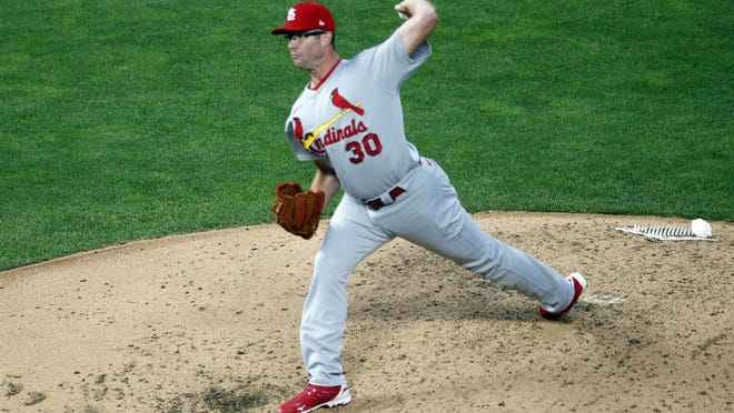 St. Louis Cardinals pitcher Tyler Webb throws in relief against the Minnesota Twins in the fifth inning of a game on Wednesday, July 29, in Minneapolis.