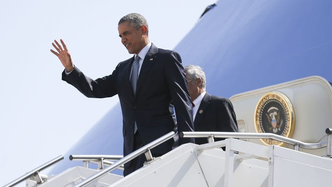 President Barack Obama arrives in Des Moines , Iowa, Monday Sept. 14, 2015. Pres. Obama plans a stop at North High School.