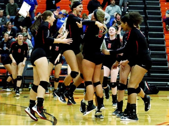 The Crestview volleyball team had plenty to celebrate