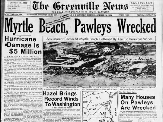 In October 1954, Hurricane Hazel hit the South Carolina coast.