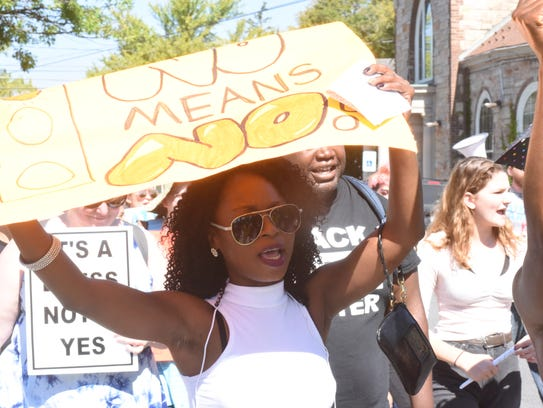 Protesters marched through New Paltz on Sunday for