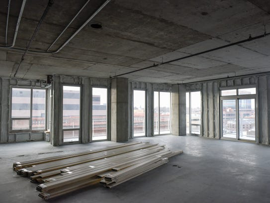 An unfinished condo in the Washington Square building. The downtown mixed-use building will offer space for restaurants, offices, public parking and condos.