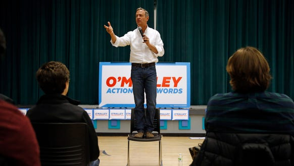 Martin O'Malley speaks during a town hall at Grinnell