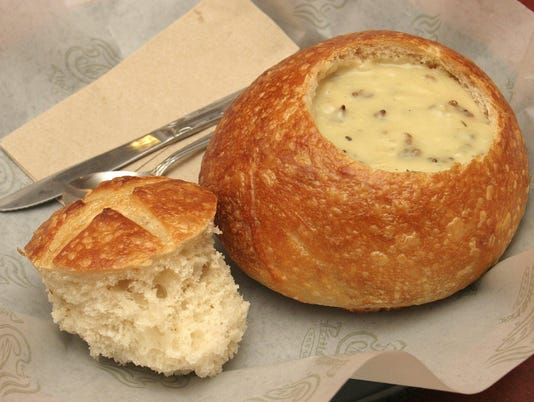 BREAD BOWL WITH CREAM OF CHICKEN & WILD RICE SOUP