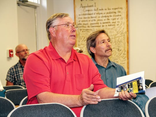 Fair Board Vice-Chairman Matt Nix speaks at Tuesday's public hearing regarding off-highway vehicles on streets and highways owned and controlled by Otero County.