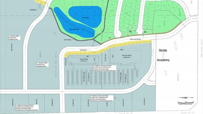 The proposal for Stone Gate development would feature a combination of commercial sites such as a strip mall and big box store.