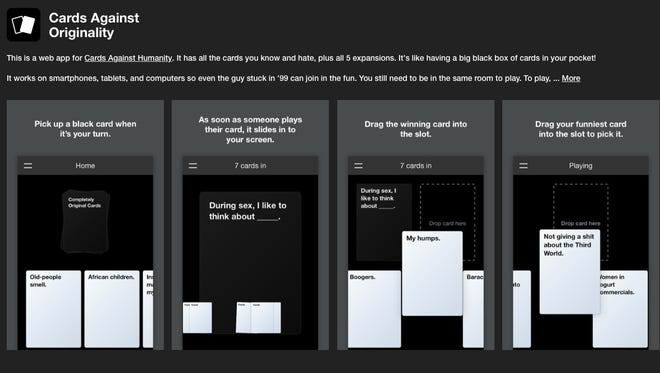 Cards Against Originality is an online version of Cards Against Humanity.