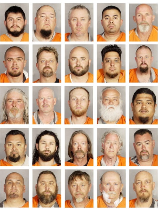 This combination of booking photos provided by the McLennan County Sheriff's office shows people arrested during the motorcycle gang related shooting at the Twin Peaks restaurant in Waco, Texas, Sunday, May 17, 2015. Top row from left to right; Jorge Salinas, Bobby Samford, Phillip Sampson, Andrew Sandoval and Timothy Satterwhite. Second row from left to right; Trey Short, Phillip Smith, Seth Smith, Seth Smith and Christopher Stainton. Third row from left to right; James Stallings, Andrew Stroer, Bradley Terwilliger, Michael Thomas and Christian Valencia. Fourth row from left to right; Jose Valle, Royce Vanvleck, James Venable, John Vensel and Justin Waddington. Fifth row from left to right; Daryle Walker, Glenn Walker, Steven Walker, Ronald Warren and Reginald Weathers.