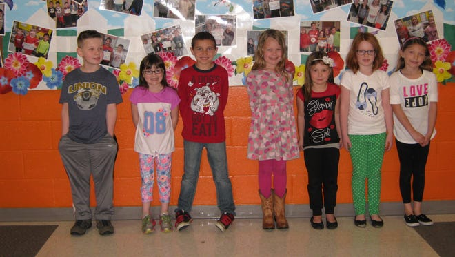 First-graders named Students of the Month for April at Janvier School in Franklin are: (from left) Connor Stewart, Addison Graiff, Braeden Lawson, Caelyn Quick, Cheyenne Stanton, Kathryn Auge and Macey McGinley.