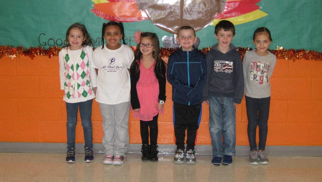 First-graders named Students of the Month for November at Janvier School in Franklin are: (from left) Kaylin Thorn, Sanaa Morris, Brooke Senor, Brady Malloy, Blake Fockler and Gyanna Trabosh.
