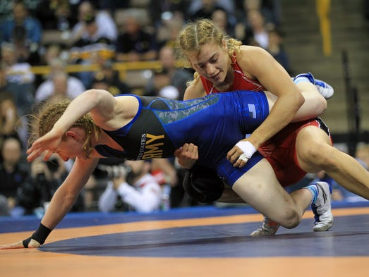 Helen Maroulis, right, wrestles Whitney Conder in the