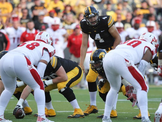 Nathan Stanley (4) entered Saturday's game with Iowa