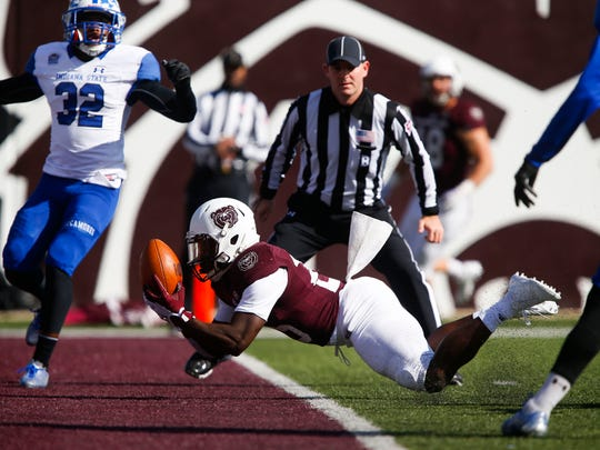 Missouri State's Jason Randall catches a pass for a touchdown during a game against the Indiana State Sycamores during the Bears homecoming football game at Plaster Stadium on Saturday, Oct. 28, 2017.