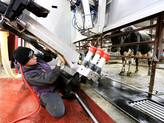 In this Thursday, Oct. 26, 2017, photo, Maureen Seevers repairs a robotic milking system at Kregel Farms in Guttenberg, Iowa. Seevers contemplated as a child — meteorologist, astronaut, the things kids think about — she found herself drawn down to earth, to the dairy barns where she grew up on the family farm.