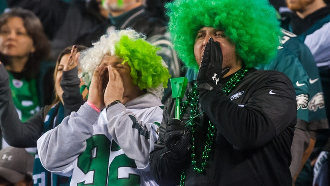 Eagles fans cheer against the Vikings at Lincoln Financial Field on Sunday, January 21.
