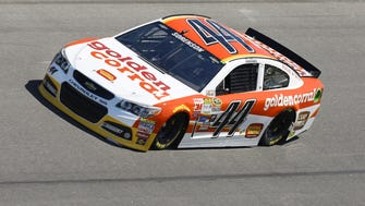 Reed Sorenson drives the No. 44 car during practice for the Daytona 500.