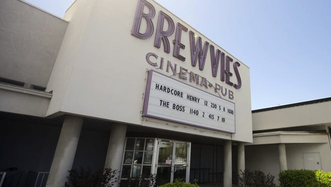 "This April 18, 2016, photo, shows the Brewvies Cinema Pub, in Salt Lake City. Utah's liquor commissioners sidestepped questions Tuesday, April 26, 2016, about a Salt Lake City movie theater being cited under a state obscenity law for serving drinks during a screening of the movie ""Deadpool."""