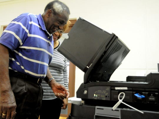 James Williams submits his vote at the San Jose Senior