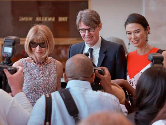 """Anna Wintour (from left),   Andrew Bolton, and Wendi Murdoch appear in the documentary """"The First Monday in May."""""""