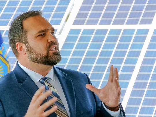 Joe Sliker, the president and chief executive officer of Renovus Solar talks Tuesday about his company's completion of the first jointly owned solar energy project in New York State.