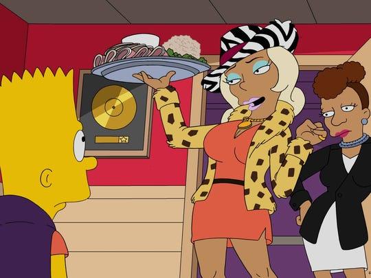 Bart Simpson, left, encounters Praline, a music mogul's