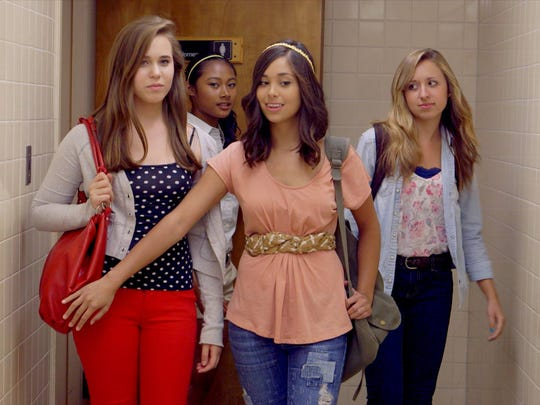 """AJ Pelkey, center, in a scene from """"Camp Harlow,"""" a Pure Flix film about bullying and faith."""