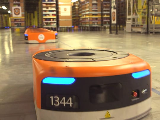 Robots are used to move merchandise and fulfull orders