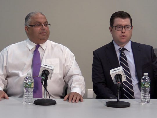 Former WestCOP CFO is Tarek Abdelaziz and his lawyer Michael Willemin during an interview at lohud in White Plains on May 23, 2018.