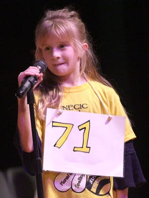 McKenzie Musgrove, of Woodland Elementary, won first place in the first Mansfield Spelling Bee at Senior High School on Thursday.