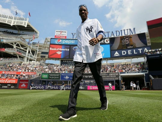 Dwight Gooden is introduced as the New York Yankees honor the 1996 World Series team at Yankee Stadium on Aug. 13.