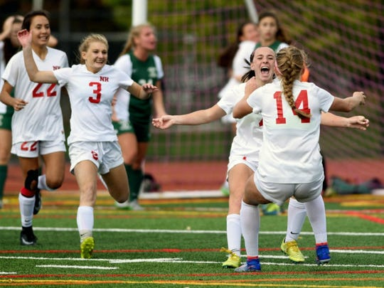 Northern Highlands celebrates a goal against Ramapo during a 2017 game.