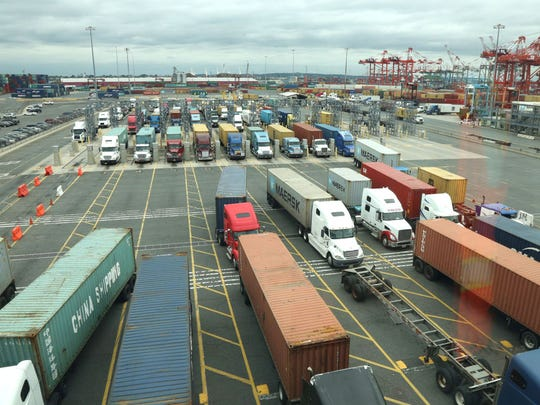 In New Jersey, the bulk of black carbon is generated by diesel-powered vehicles such as these trucks at Port Newark.