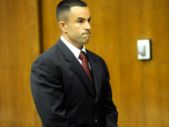 Palisades Park Police Sgt. Marc Messing in court on Monday, Aug. 24, 2015.