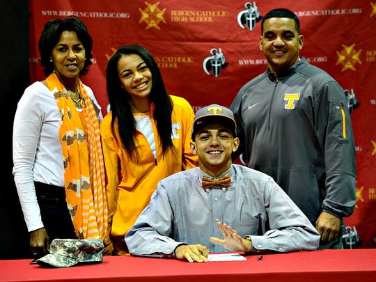 Bergen Catholic quarterback Jarrett Guarantano, surrounded by family, stood firm in his decision to attend Tennessee.