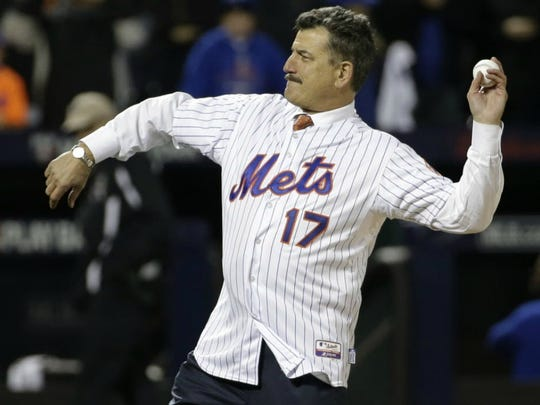 Keith Hernandez throws out the ceremonial first pitch before Game 1 of the National League baseball championship series between the New York Mets and the Chicago Cubs, in New York last October.