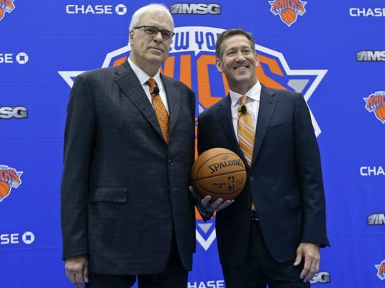 Phil Jackson, left, is still working on making the Knicks winners, something new coach Jeff Hornacek will soon find out..