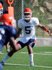 UTEP junior defensive back Nik Needham looks over the offense during practice as the Miners prepare for their season opening game against OU Saturday in Norman, Ok.