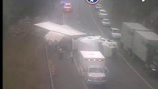 A tractor trailer is slowing traffic on I-40 near mile marker 341 in Roane County.