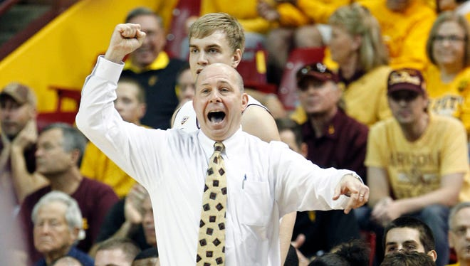 Arizona State Sun Devils Head Coach Herb Sendek yells to his team as they face the Arizona Wildcats during the first half of their NCAA basketball game Saturday, Jan. 19, 2013  in Tempe.
