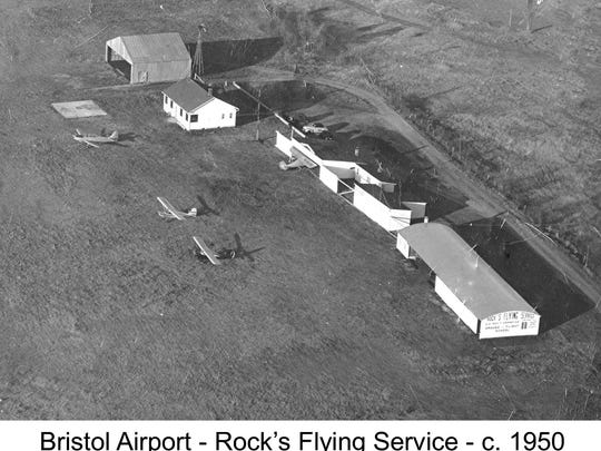 View of the Bristol Airport and Rock's Flying Service circa 1950.