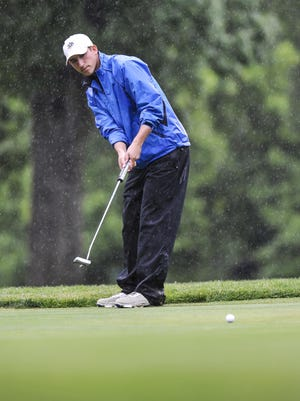 Morristown junior Will O'Neill watches his putt during the NJSIAA Tournament of Champions at Hopewell Valley Golf Club.