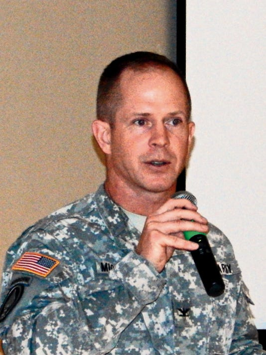 Colonel Brian Michelson, Garrison Commander of White Sands Missile Range, during the Military Civilian Forum.