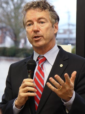 Sen. Rand Paul speaks at Miss Shirley's Bakery in Alexandria last December. He said Tuesday he thinks legislators are closer to a solution than ever for the Brent Spence Bridge project.